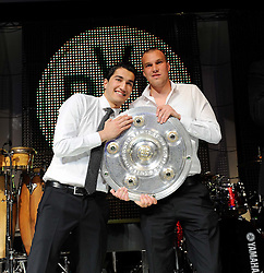 14.05.2011, U-Haus, Dortmund, GER, 1.FBL, Borussia Dortmund Meisterbankett im Bild Nuri SAHIN und Kevin GROßKREUTZ, rechts mit Meisterschale //   German 1.Liga Football ,  Borussia Dortmund Championscelebration, Dortmund, 14/05/2011 . EXPA Pictures © 2011, PhotoCredit: EXPA/ nph/  Conny Kurth       ****** out of GER / SWE / CRO  / BEL ******