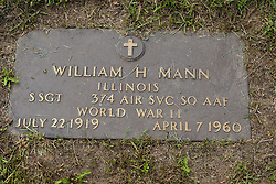 31 August 2017:   Veterans graves in Park Hill Cemetery in eastern McLean County.<br /> <br /> William H Mann Illinois Staff Sergeant 374 Air SVC SQ AAF World War II  July 22 1919  April 7 1960