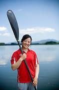 Women Kayaker Wang Feng in Yanqing, where she is training for the Beijing 2008 Olympics.