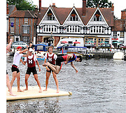 Henley, Great Britain.  Henley Royal Regatta. Harvard University 'A', celebrate, after winning, Prince Albert Challenge Cup, M4+., with the traditional ritual, of tossing the Cox in the Thames. River Thames Henley Reach.  Royal Regatta. River Thames Henley Reach.  Sunday  03/07/2011  [Mandatory Credit  Karon Phillips/ Intersport Images] . HRR
