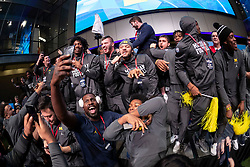 """The Michigan Wolverines celebrate winning the  """"Battle for Bowl Week"""" belt against the Florida Gators at the College Football Hall of Fame on Wednesday, December 26, 2018, in Atlanta. Michigan will face Florida in the 2018 Chick-fil-A Peach Bowl NCAA football game on December 29, 2018. (Paul Abell via Abell Images for the Chick-fil-A Peach Bowl)"""