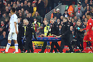 Philippe Coutinho of Liverpool is taken off  injured on a stretcher. Premier League match, Liverpool v Sunderland at the Anfield stadium in Liverpool, Merseyside on Saturday 26th November 2016.<br /> pic by Chris Stading, Andrew Orchard sports photography.