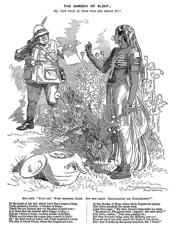 """The Garden of Sleep; or, """"put that in your pipe and smoke it!"""" Miss India. """"Evict me? With pleasure, Sahib. But how about 'compensation for disturbance?'"""""""