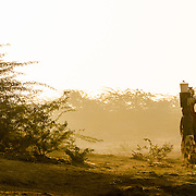 Women collecting water in early morning in village of Chandelao, Rajasthan