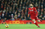 Mohamed Salah of Liverpool in action. Premier League match, Liverpool v Chelsea at the Anfield stadium in Liverpool, Merseyside on Saturday 25th November 2017.<br /> pic by Chris Stading, Andrew Orchard sports photography.