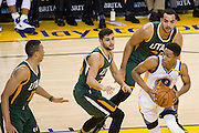 Golden State Warriors guard Patrick McCaw (0) makes a move against the Utah Jazz in the post at Oracle Arena in Oakland, Calif., on December 20, 2016. (Stan Olszewski/Special to S.F. Examiner)