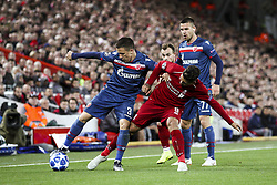 October 24, 2018 - Liverpool, United Kingdom - Crvena Zvezda midfielder Branko Jovicic (3) fights for the ball against Liverpool forward Roberto Firmino (9) during the Uefa Champions League Group Stage football match n.3  Liverpool v FK Crvena Zvezda on October 24, 2018, at the Anfield Road in Liverpool, England. (Credit Image: © Matteo Bottanelli/NurPhoto via ZUMA Press)
