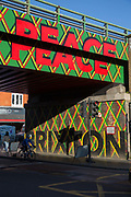 Bright sunshine illuminates Brixton's wall murals under a Network Rail bridge along Brixton Road on the 25th February 2019 in Brixton in the United Kingdom. A new English record was set on this day with temperatures rising to 20.1C in south-west London. It is the first time a temperature of over 20C has been recorded in England during winter.