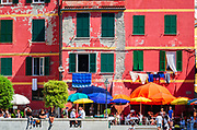 Tourists and colorful houses, Vernazza, Cinque Terre, Liguria, Italy