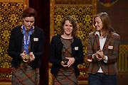 Officiele Huldiging van de Olympische medaillewinnaars Sochi 2014 / Official Ceremony of the Sochi 2014 Olympic medalists.<br /> <br /> Op de foto: De schaatssters Jorien ter Mors, Lotte van Beek en Ireen Wust
