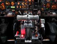 The throttle levers of the Boeing 737-200