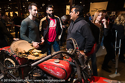 Trent Schara's 1934 Harley-Davidson VLD Barnfind on Friday night opening of the Handbuilt Motorcycle Show. Austin, TX. April 10, 2015.  Photography ©2015 Michael Lichter.