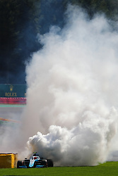 SPA-FRANCORCHAMPS, Aug. 31, 2019  Engine blowout occurs to the vehicle of Robert Kubica of Williams Mercedes during the Qualifying of the Formula 1 Belgian Grand Prix at Spa-Francorchamps Circuit, Belgium, Aug. 31, 2019. (Credit Image: © Zheng Huansong/Xinhua via ZUMA Wire)