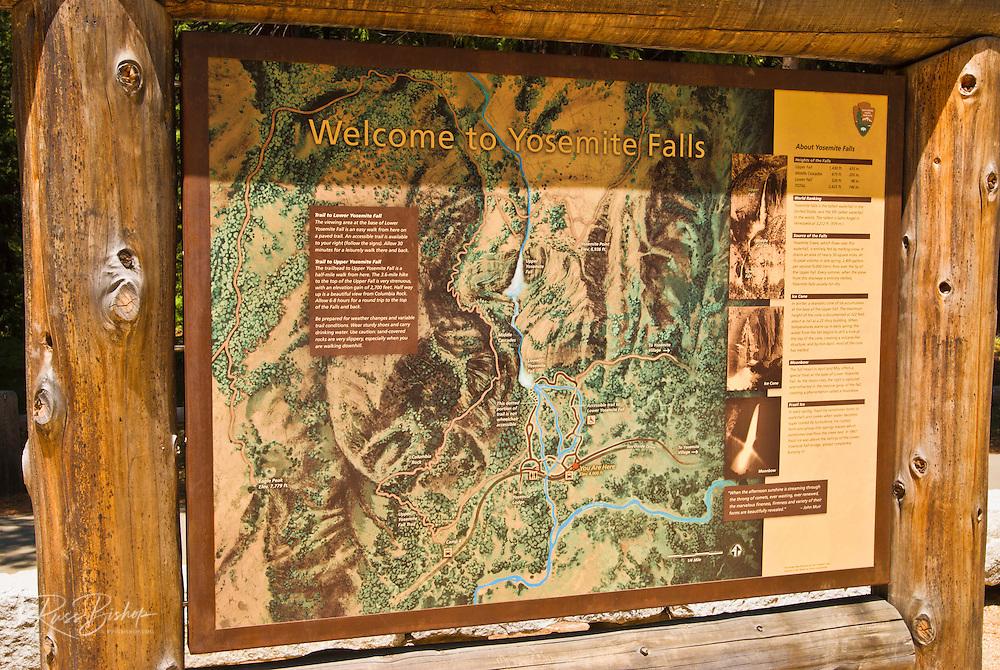 Interpretive sign at Yosemite Falls, Yosemite National Park, California