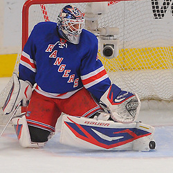 May 12, 2012: New York Rangers goalie Henrik Lundqvist (30) makes a toe save during first period action in game 7 of the NHL Eastern Conference Semi-finals between the Washington Capitals and New York Rangers at Madison Square Garden in New York, N.Y.