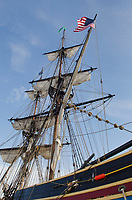 Masts and rigging of Lady Washington. A historic replica of the original 18th Century brig. Owned and operated by the Grays Harbor Historical Seaport, Aberdeen, Washington
