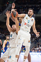 Real Madrid Jonas Maciulis and Rudy Fernandez and Khimki Moscow James Anderson during Turkish Airlines Euroleague match between Real Madrid and Khimki Moscow at Wizink Center in Madrid, Spain. November 02, 2017. (ALTERPHOTOS/Borja B.Hojas)