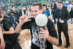 Dusan Kecman of Partizan celebrates victory during final match of Basketball NLB League at Final Four tournament between KK Union Olimpija (SLO) and Partizan Belgrade (SRB), on April 21, 2011 at SRC Stozice, Ljubljana, Slovenia. (Photo By Matic Klansek Velej / Sportida.com)