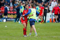 Coach Dwayne Peel congratulates Fly-Half Callum Sheedy after Bristol win the match 16-45 to take a 29 point lead into the 2nd leg at Ashton Gate - Mandatory byline: Rogan Thomson/JMP - 01/05/2016 - RUGBY UNION - Goldington Road - Bedford, England - Bedford Blues v Bristol Rugby - Greene King IPA Championship Play Off Semi Final 1st Leg.