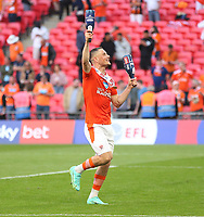 Blackpool's Jerry Yates celebrates<br /> <br /> Photographer Rob Newell/CameraSport<br /> <br /> The EFL Sky Bet League One Play-Off Final - Blackpool v Lincoln City - Sunday 30th May 2021 - Wembley Stadium - London<br /> <br /> World Copyright © 2021 CameraSport. All rights reserved. 43 Linden Ave. Countesthorpe. Leicester. England. LE8 5PG - Tel: +44 (0) 116 277 4147 - admin@camerasport.com - www.camerasport.com