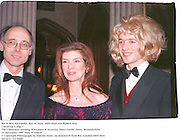 Mr. & Mrs.Alexander Hay of Duns with their son Robert Hay. <br />( wearing a wig. )The Christmas evening of Fashion & Festivity. Duns Castle. Duns, Berwickshire15 December 1997 Film 97724f10<br />© Copyright Photograph by Dafydd Jones<br />66 Stockwell Park Rd. London SW9 0DA<br />Tel 0171 733 0108