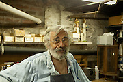 Martin in his basement workshop.