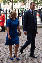© Licensed to London News Pictures. 15/06/2018. London, UK. Daughter Lucy Hawkin (l) and son Timothy Hawkin attends the memorial service for Professor Stephen Hawkin at Westminister Abbey. Photo credit: Ray Tang/LNP
