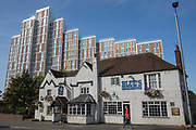 Royal Winchester House stands behind Blue's Smokehouse on 18 September 2020 in Bracknell, United Kingdom. The high-rise apartment block contained 311 apartments for rent when built by Comer Homes Group and permission was granted for an additional 27 flats by Bracknell Forest Council in November 2019.