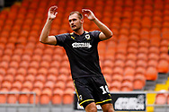 Wimbledon forward James Hanson (18)  during the EFL Sky Bet League 1 match between Blackpool and AFC Wimbledon at Bloomfield Road, Blackpool, England on 20 October 2018.