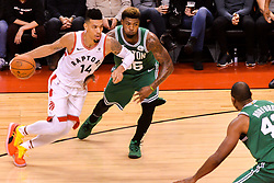 October 19, 2018 - Toronto, Ontario, Canada - Danny Green #14 of the Toronto Raptors rebounds the ball during the Toronto Raptors vs Boston Celtics NBA regular season game at Scotiabank Arena on October 19, 2018 in Toronto, Canada (Toronto Raptors win 113-101) (Credit Image: © Anatoliy Cherkasov/NurPhoto via ZUMA Press)