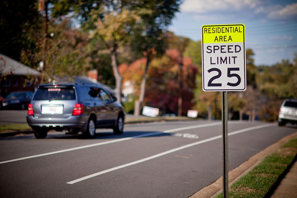 Arlington, Oct. 21, 2010 - A vehicle drives past a speed limit sign