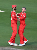 Cricket - 2020 T20 Vitality Blast - Quarter-final - Sussex Sharks vs Lancashire Lightning - County Ground, Hove<br /> <br /> Matt Parkinson of Lancashire Lightning celebrates with Saqib Mahmood after taking the wicket of Ollie Robinson of Sussex Sharks.<br /> <br /> COLORSPORT/ASHLEY WESTERN