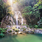 Water flow at Kuang Si Falls near Luang Prabang