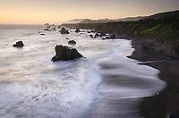 Long exposure twilight view of Sonoma Coast California