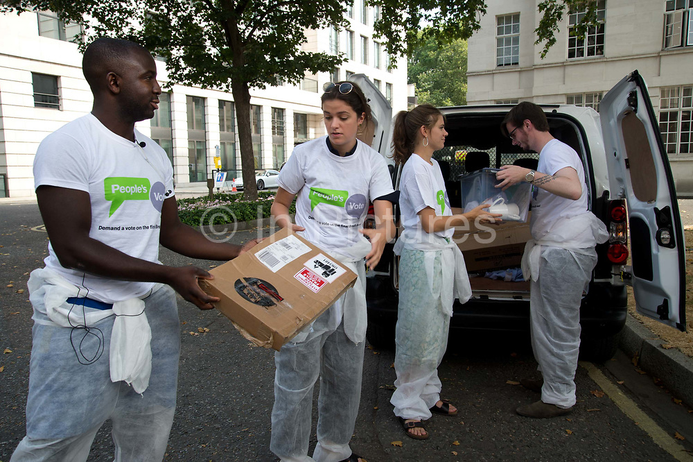 Young people's vote campaigners arrive to offer Boris Johnson help to move from his Grace and Favour home which goes with his ex post as Foreign Secretary and which he should have vacated after his resignation on July 26th 2018 in London, United Kingdom.