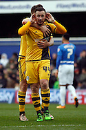 Ross McCormack of Fulham celebrating after scoring the first goal .Skybet football league championship match, Queens Park Rangers v Fulham at Loftus Road Stadium in London on Saturday 13th February 2016.<br /> pic by Steffan Bowen, Andrew Orchard sports photography.