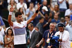June 2, 2017 - Paris, France - Serbia's Novak Djokovic celebrates after winning against Argentina's Diego Schwartzman during their tennis match at the Roland Garros 2017 French Open on June 2, 2017 in Paris. (Credit Image: © Mehdi Taamallah/NurPhoto via ZUMA Press)