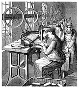 Women securing bristles in brushes using Woodbury's machine.  Machines set up by windows for maximum natural light, and asre powered by belt and shafting from central source. Boy keeps each work station supplied with materials and takes away processed goods. Illustration  Leipzig c1895.