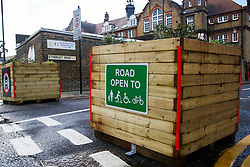 © Licensed to London News Pictures. 15/11/2020. London, UK. Signs at the entrance of Etherley Road in Haringey as it becomes the first street in Haringey, north London to close to motorcycles and cars, and only open for pedestrians and cyclist to increase road safety.  Photo credit: Dinendra Haria/LNP