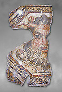 2nd century AD Roman mosaic depictiong Neptune. From Augusti (Sidi El Heni), Tunisia.  The Bardo Museum, Tunis, Tunisia. Grey background .<br /> <br /> If you prefer to buy from our ALAMY PHOTO LIBRARY  Collection visit : https://www.alamy.com/portfolio/paul-williams-funkystock/roman-mosaic.html - Type -   Bardo    - into the LOWER SEARCH WITHIN GALLERY box. Refine search by adding background colour, place, museum etc<br /> <br /> Visit our ROMAN MOSAIC PHOTO COLLECTIONS for more photos to download  as wall art prints https://funkystock.photoshelter.com/gallery-collection/Roman-Mosaics-Art-Pictures-Images/C0000LcfNel7FpLI