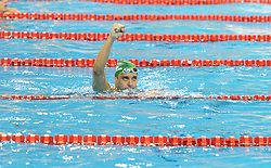 DOHA, Aug. 28, 2014  South Africa's Chad Le Clos celebrates after the men's 50m butterfly final at the 2014 FINA/MASTBANK Swimming World Cup in Doha, capital of Qatar, Aug. 27, 2014. Chad Le Clos won the gold with a time of 22.17 seconds. (Xinhua/Chen Shaojin) (Credit Image: © Xinhua via ZUMA Wire)