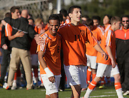 Middletown, New York - Hicksville High School soccer players celebrate their 1-0 victory over Webster Schroeder in the New York State Class AA boys' soccer championship game on Nov. 20, 2011.