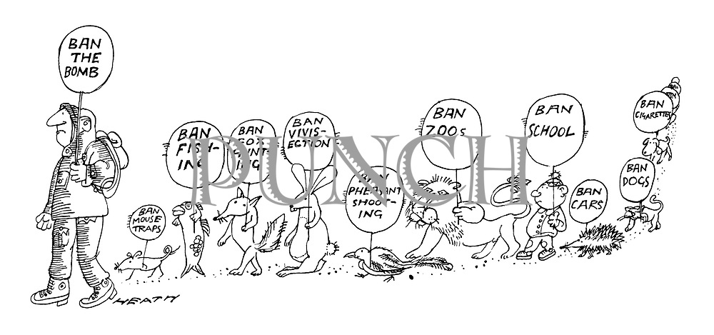(A protest march with a man carrying a sign reading 'Ban the Bomb' is followed by a mouse, a fish, a fox, a rabbit, a pheasant, a lion, a little boy, a hedgehog, a cat and a dog, all carrying signs banning their pet hates)