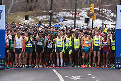 NYRR New York City Half Marathon road race: men's start, Meb, Ritz, Abdi