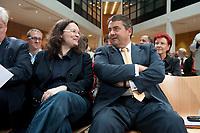 """14 SEP 2010, BERLIN/GERMANY:<br /> Andrea Nahles (L), SPD Generalsekretaerin, und Sigmar Gabriel (R), SPD Parteivorsitzender, SPD Veranstaltung """"Die Finanztransaktionssteuer: Ursachen der Krise bekaempfen - Verursacher an den Kosten beteiligen"""", Willy-Brandt-Haus<br /> IMAGE: 20100914-01-003<br /> KEYWORDS: Konferenz, Finanzmarkt"""