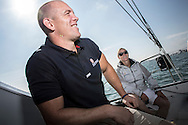 The Artemis Challenge at Aberdeen Asset Management Cowes Week 2014. <br /> Mike Tindal on the Artemis<br /> <br /> FREE for editorial use. Credit: Lloyd Images