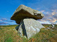 Chun or Chûn, Quoit is a megalithic burial dolmen from the Neolithic period, circa 2400 BC, near Morvah on the Chun Nature Reserve, Penwith peninsula, Cornwall, England '<br /> Visit our PREHISTORIC PLACES PHOTO COLLECTIONS for more  photos to download or buy as prints https://funkystock.photoshelter.com/gallery-collection/Prehistoric-Neolithic-Sites-Art-Artefacts-Pictures-Photos/C0000tfxw63zrUT4