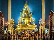 """04 MARCH 2015 - BANGKOK, THAILAND:  The main Buddha statue in the """"wiharn"""" or prayer hall at Wat Benchamabophit in the Dusit district of Bangkok.    PHOTO BY JACK KURTZ"""