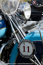 Evan Riggles 1942 Indian lined up for the panorama portrait in Aune Osborne Park in Sault Sainte Marie, the site of the official start of the Cross Country Chase motorcycle endurance run from Sault Sainte Marie, MI to Key West, FL. (for vintage bikes from 1930-1948). Thursday, September 5, 2019. Photography ©2019 Michael Lichter.