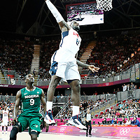 02 August 2012: LeBron James dunks the ball during 156-73 Team USA victory over Team Nigeria, during the men's basketball preliminary, at the Basketball Arena, in London, Great Britain.